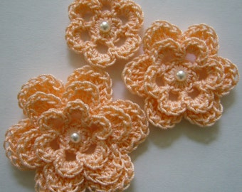 Crocheted Flowers - Peach - Pearl Accent - Cotton Flowers - Crocheted Flower Appliques - Crocheted Flower Embellishments