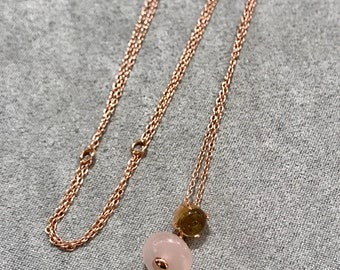 Natural stone necklace-gemstone necklace-rose quartz necklace-citrine necklace-sterling silver necklace-rose gold necklace-korean jewelry