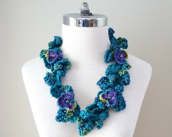Floral Pansy necklace scarf, Infinity Accent Scarf, Floral necklace accent scarf, hand painted merino wool and silk, perfect any season