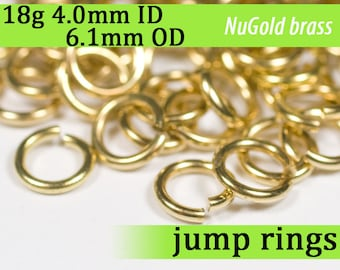 18g 4.0 mm ID 6.1 mm OD NuGold brass jump rings -- 18g4.00 open jumprings