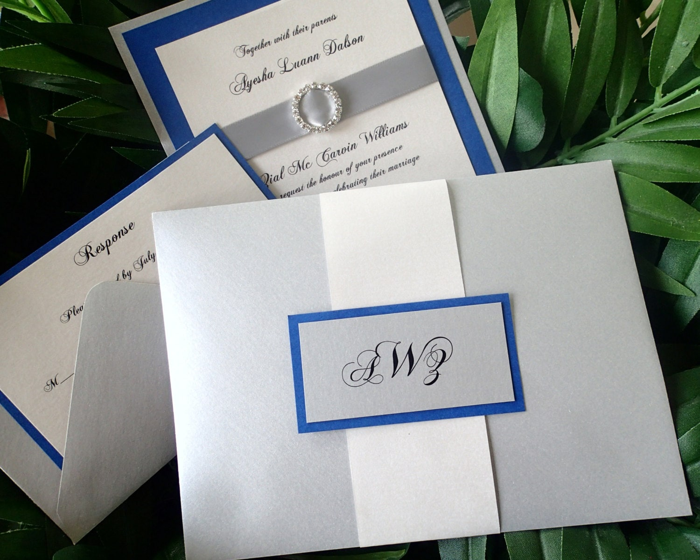 Royal Blue Wedding Invitation Elegant Invitation Crystal