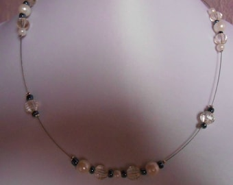 River pearls anthracite and Pearl bridal necklace white