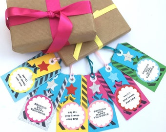 Paper gift tags , May all your dreams come true , sending you happy thoughts , inspirational bright coloured gift tags , stars