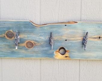 Vintage Wooden Nautical Wall Hanging Coat Rack Ocean Blue Fence board