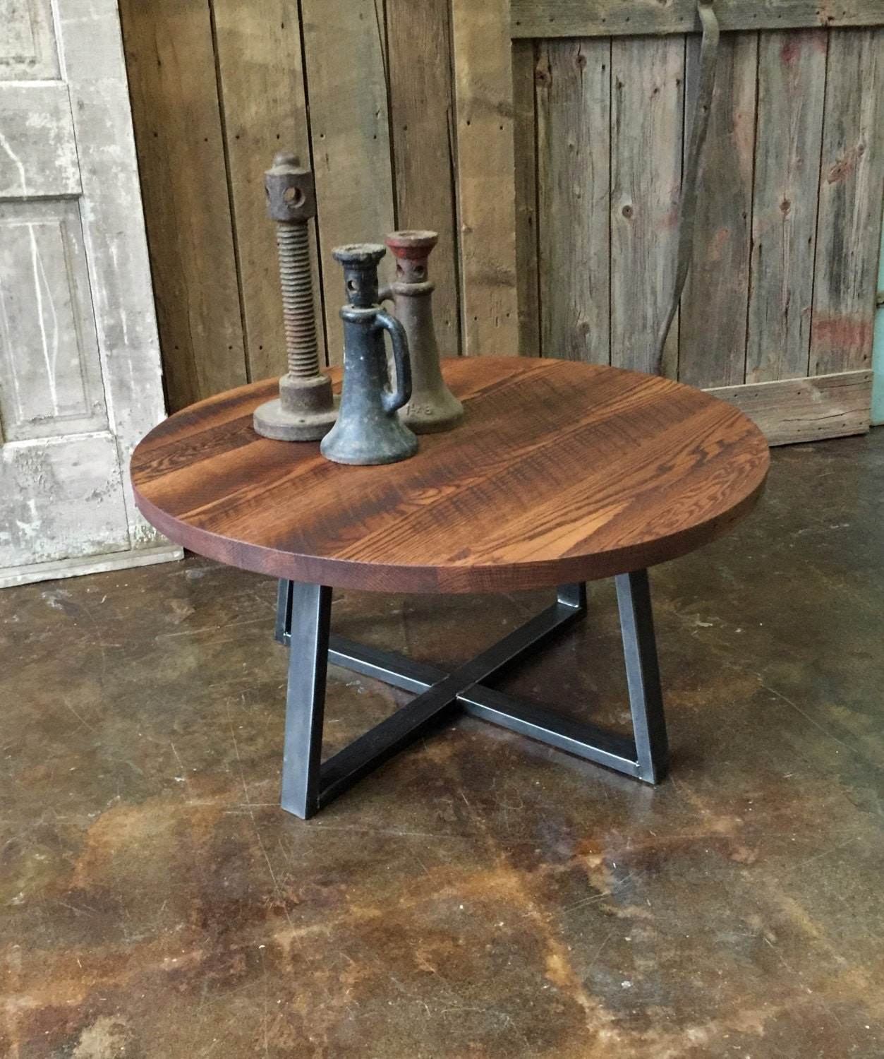 Round Coffee Table / Industrial Reclaimed Wood and Steel