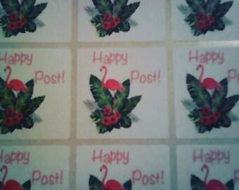happy post stickers - Flamingo