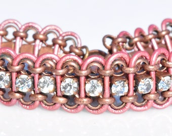 Pink Metallic Leather Bracelet with Clear Sparkling Rhinestone Chain and Antique Copper Rolo Chain