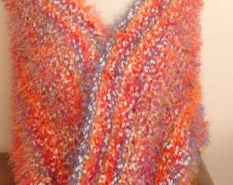 Knited shawl scarf ,orange blue amd red eyelash yarn knit scarf ,Mother's day gift ,limitted edition knit wrap ,knit blanket scarf,knit wrap