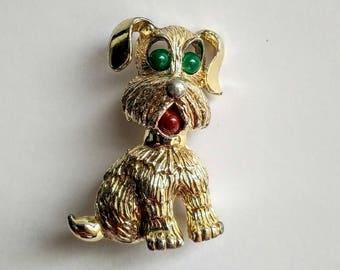 Vintage dog brooch, Vintage dog pin, Signed Sarah Cox dog brooch, Gold tone dog brooch