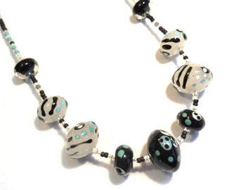Black and White Necklace Lamp Work Glass Beads,  handmade artisan jewelry, lampwork art beads, SRAJD art glass accessory