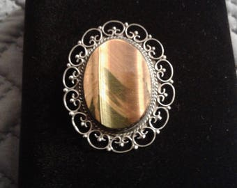 Large Tiger Eye Pin and Pendant Combination Oval Openwork Frame Mexico 925 Sterling Silver