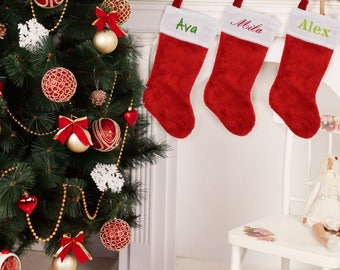 Personalized Christmas Stockings, Name Stocking, Red and White Christmas Stockings, Embroidered Christmas Stockings