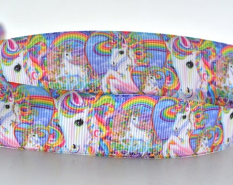 "Lisa Frank Horse Unicorn Rainbow Kids Art Characters Movies Printed Grosgrain Ribbon 7/8"" Wide LF010418"