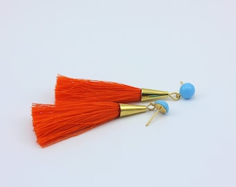 Small Tassel  Earrings in Orange and Aqua with Handmade Tassels and Vintage Cabochons, Handmade Jewelry by Detail London.