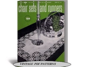 Vintage PDF Pattern Book Chair Sets and Table Runners to Crochet, Coats & Clark Book No.261