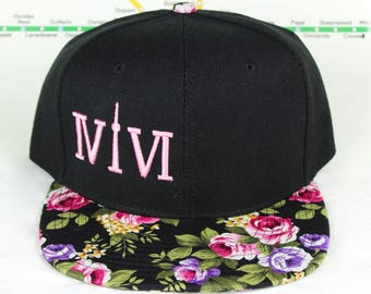 Pink Floral Fresh and Fly! Beautiful 416 hats. Original, Custom Snap backs, CN Tower, The Six, 6ix, Area Code, 416 Hats, 647, Roman Numerals