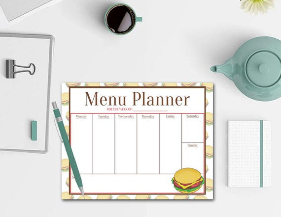 Cheeseburger Menu Planner Notepad