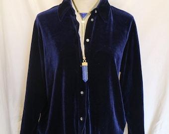 Vintage 1980's Deep Blue Velvet Shirt/ Thin Jacket / Australian Made