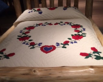 Hearts and Flowers Hand Sewn Queen-Sized Quilt