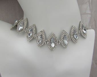 Statement Silver Platinum Diamond Shaped Oval Choker Necklace