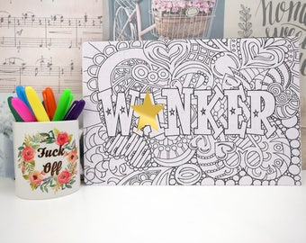 Coloring Swear Page  - Adult Jigsaw - Inappropriate Gift - Introvert Gift - Free Shipping - Colouring Jigsaw