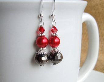 Red and Dark Grey Pearl and Crystal Dangle Earrings Bridesaids Jewelry Swarovski Crystal Bridesmaids Wedding Jewelry Sterling Option