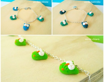 I owls-bracelet with charms in the shape of light green/blue and green Owl/petroleum and Green Polymer clay fimo//handmade