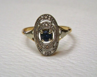 antique 14k gold, sapphire, and diamond ring, size 6.25