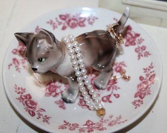 Vintage Striped Green Eyed Kitten Rose Pink Jewelry Ring Dish