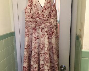 New Women's Burgundy Flower Sun Dress (Size 8)