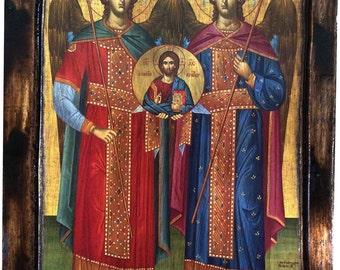 Archangel Michael, Archangel Gabriel - Orthodox Byzantine icon on wood handmade (22.5 cm x 17 cm)