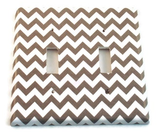Double  Light Switch Cover Wall Decor Switchplate Switch Plate in  Gray Chevron  (154D)