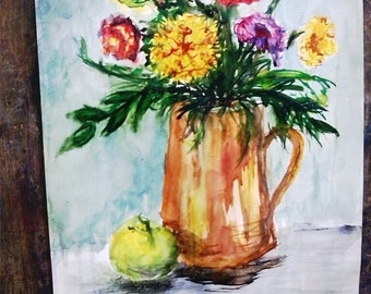 Flowers and apple (still life, watercolor, A3)