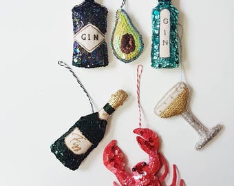 Champagne Coupe Handmade Sequin Ornament