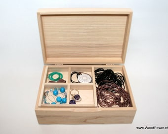 Handcrafted Jewelry Box / Box with Removable Layer / Natural Wood Box / Ash Wood Box / Jewelry Storage Box / Jewelry Gift Box / Natural Box