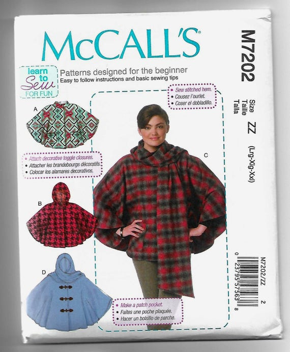 M7202 McCall\'s Ponchos Sewing Pattern Sizes 16-26 Hooded Learn to ...