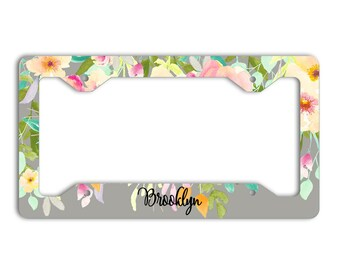 Pink and gray floral license plate frame with monogram, Pretty car decor, Unique gift for women, Gift for mother, Car accessories (1804)