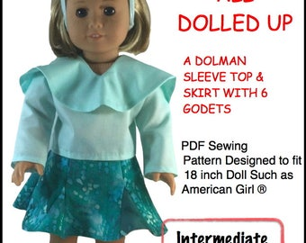 Pixie Faire Di's Dolly Designs All Dolled Up Sewing Doll Clothes Pattern for 18 inch American Girl Dolls - PDF