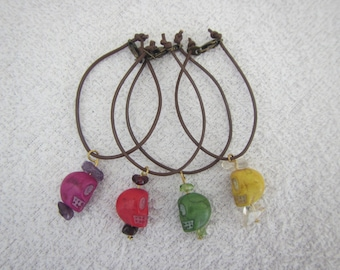 SD BJD skull necklace - purple, yellow, red, green