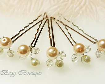 8mm Peach blush Pearl pins, Swarovski crystal hair pins, Wedding Hair Accessories, Pearl Wedding Hair Pins,Bridal Hair Pins, pearls clips.