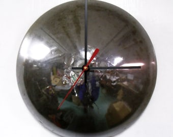 Baby Moon Wall Clock - Chrome Hubcap Clock - Minimalist Clock - Recycled Clock - Man Cave Decor