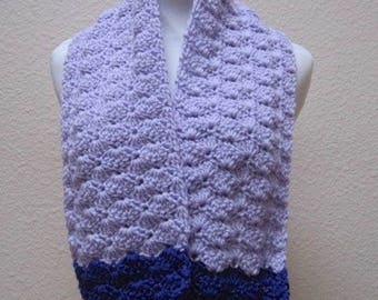Scarf Purple and Lavender Neck Warmer Hand Crocheted Striped Textured