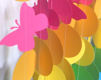 Rainbow Butterfly Birthday Party Paper Garland - Ten 3 Foot Strands - Childrens Party
