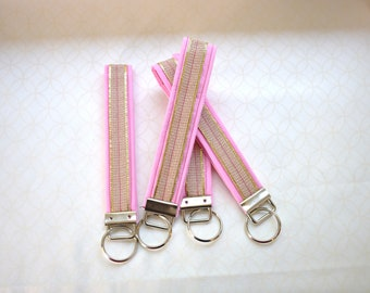 Pink Key Fob, keychain, Wristlet, Key fob, key holder, pink, burlap, accessories