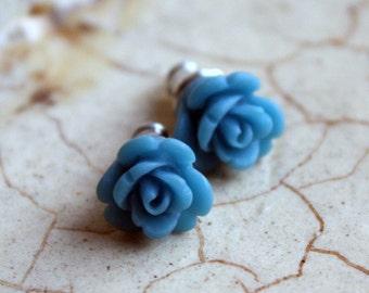 Earrings -- Teeny blue roses