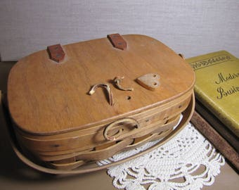 19th Century Brand Handmade Basket - Wooden Lid - Leather Straps - Wooden Handle