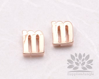 """IP003-GRG-M// Glossy Rose Gold Plated Simple Lower Case Initial """"m"""" Pendant, 2 pcs"""