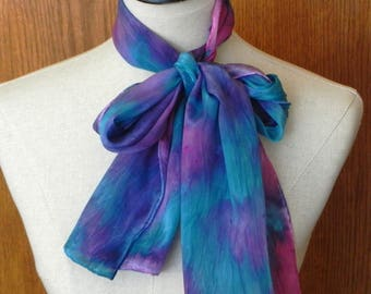 Abstract crepe silk scarf hand dyed in shades of turquoise blue, pink and violet, ready to ship silk scarf #567