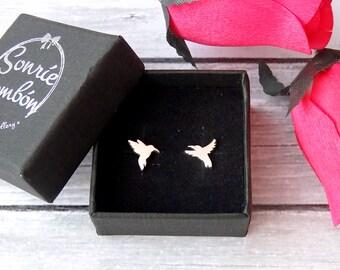 Colibrí pendientes / pendientes colibri pajaro plata / pendientes colibrí pájaro plata de ley / colibri naturaleza flor pendientes plata 925