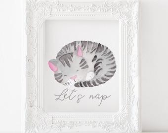 Cat Printable Cat Print, Cat nursery print, Cat nursery decor, Cat nursery printable, Lets nap printable, Lets nap print, animals printable